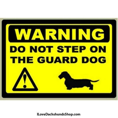 Dachshund Warning Decal Do Not Step on Guard Dog