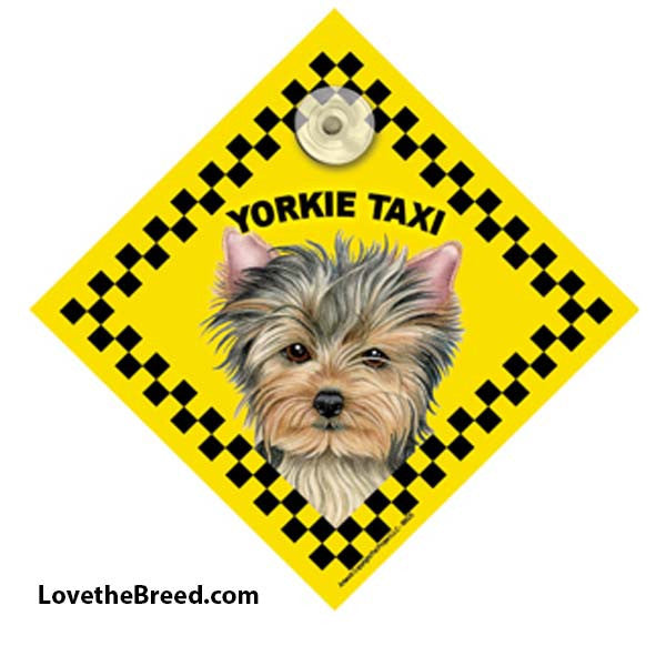 Yorkie Taxi Car Sign