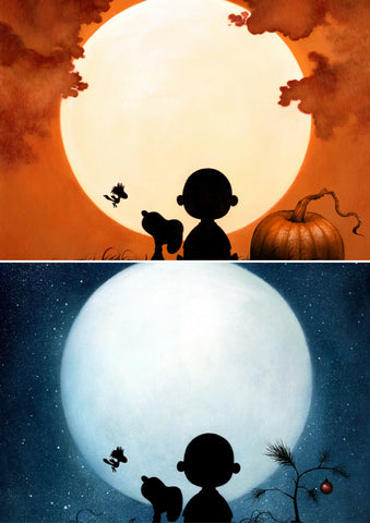 """CHARLIE BROWN HALLOWEEN + CHRISTMAS"" 2-PRINT SET: INCLUDES DAN MAY's VARIANT EDITIONS IN 11"" X 14"" FORMAT Edition of 200"