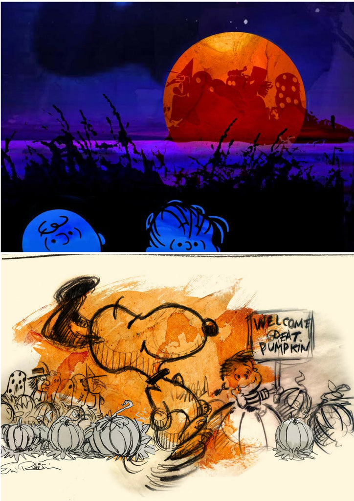 """IT'S THE GREAT PUMPKIN, CHARLIE BROWN"" 2-PRINT SET: INCLUDES ERIC ROBISON's STD + VARIANT EDITION IN 11"" X 14"" FORMAT Edition of 200"