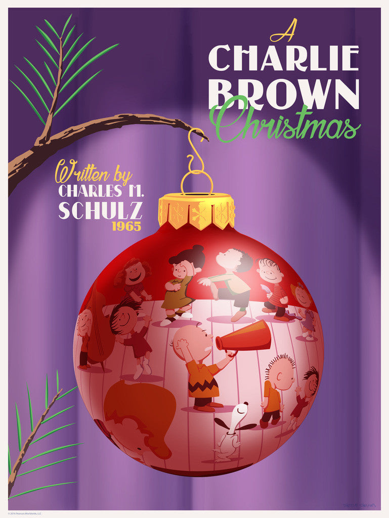 "STEVE THOMAS ""A CHARLIE BROWN CHRISTMAS"" CANVAS VARIANT 18"" x 24"" Ornament ""DANCE BREAK"" edition of 25"