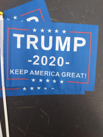 "10 Pk 9"" X 6"" Trump 2020 Plastic Stick Flag"