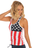 Miami Style® - Racerback Tank Top With US Flag Print