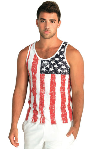 Miami Style® - Mens Distressed USA Tank Top