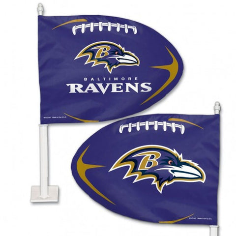 Baltimore Ravens Shaped Car Flag - Hawkins Footwear and Sports  - 1