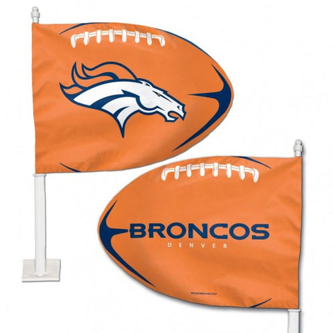Denver Broncos Shaped Car Flag - Hawkins Footwear and Sports  - 1