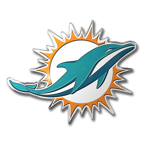 Miami Dolphins Colored Aluminum Car Auto Emblem - Hawkins Footwear and Sports  - 1