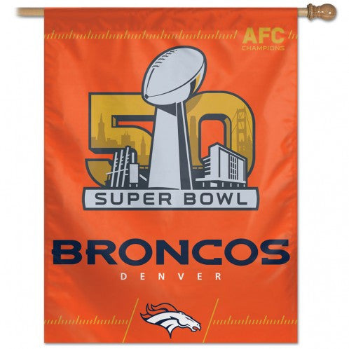 "CLEARANCE 50% OFF AFC Champions / Denver Broncos Vertical Flag 27"" x 37"" - Hawkins Footwear and Sports  - 1"