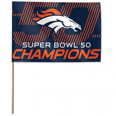 "Denver Broncos Super Bowl 12"" X 18"" Stick Flag - Hawkins Footwear and Sports  - 1"