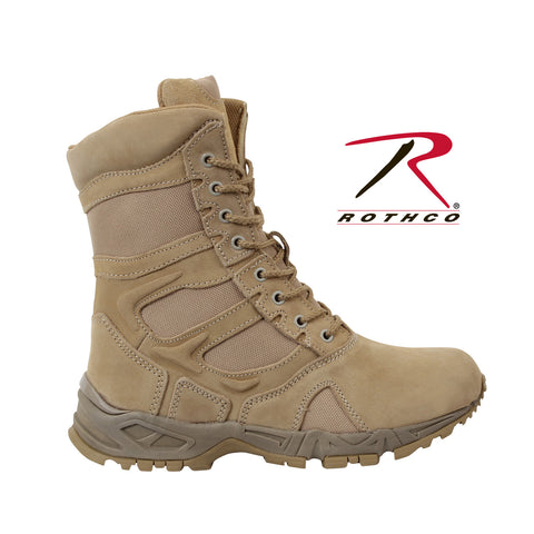 "Rothco Forced Entry Desert Tan 8"" Deployment Boots with Side Zipper"