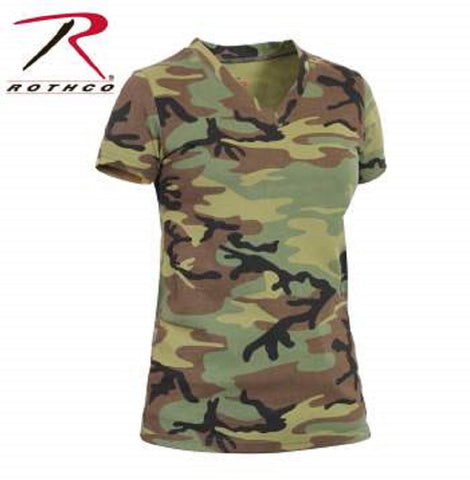 Rothco Womens Long Length Camo V-Neck T-Shirt - Hawkins Footwear and Sports  - 2
