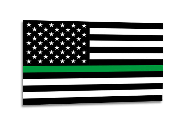 Green Line Black and White American Flag 3x5