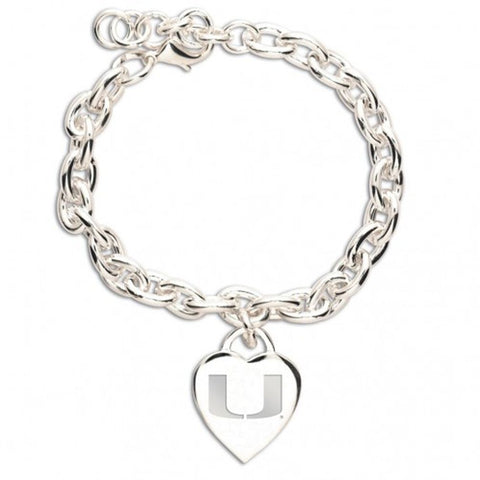 Miami (Hurricanes), University of Heart Charm Bracelet