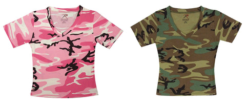 Rothco Womens Short Sleeve Camo V-Neck T-Shirt - Hawkins Footwear and Sports  - 1