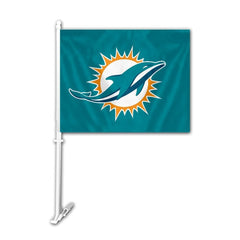 "Miami Dolphins Car Flag 11.5"" X 14.5"" - Hawkins Footwear and Sports  - 1"