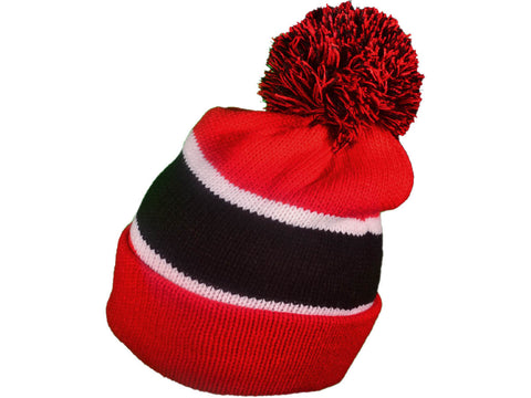 BK Winter Ski Throwback 3 Tones Long Beanies Knit Hats Red/Blk