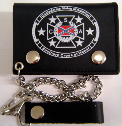Cross of Honor Leather Tri-fold Wallet