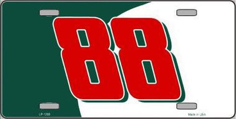 #88 Green Red Novelty Metal License Plate