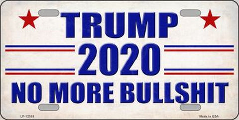 Trump 2020 No More BS License Plate