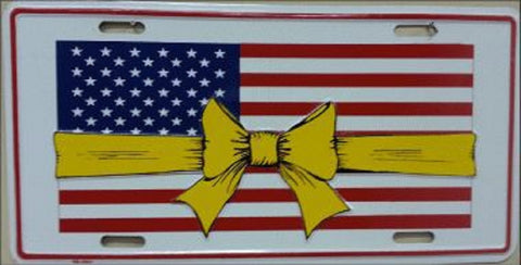 US Flag Yellow Ribbon License Plates - Hawkins Footwear and Sports