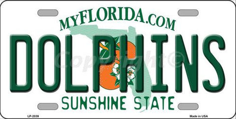 Dolphins Florida State Metal License Plate - Hawkins Footwear and Sports