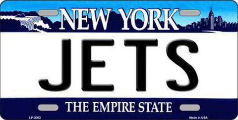 Jets New York State Metal License Plate