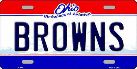 Browns Ohio State Metal License Plate