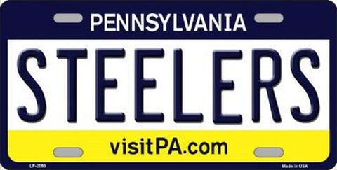 Steelers Pennsylvania State Metal License Plate - Hawkins Footwear and Sports