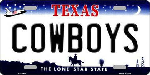 Cowboys Texas State Metal License Plate - Hawkins Footwear and Sports