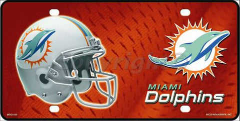 Miami Dolphins Metal License Plate - Hawkins Footwear and Sports