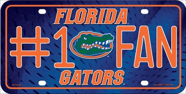 Florida Gator #1 Fan Metal License Plate - Hawkins Footwear and Sports  - 1