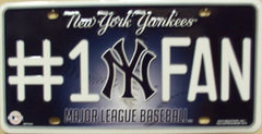 NY Yankees Metal License Plate - Hawkins Footwear and Sports  - 1