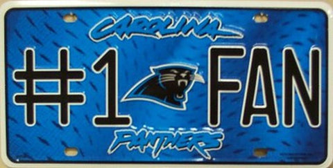 Carolina Panthers #1 Fan Metal License Plate - Hawkins Footwear and Sports  - 1