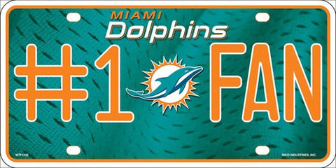 Dolphins #1 Fan Metal License Plate - Hawkins Footwear and Sports  - 1