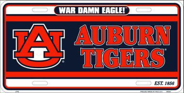 Auburn Tigers Metal License Plate - Hawkins Footwear and Sports  - 1