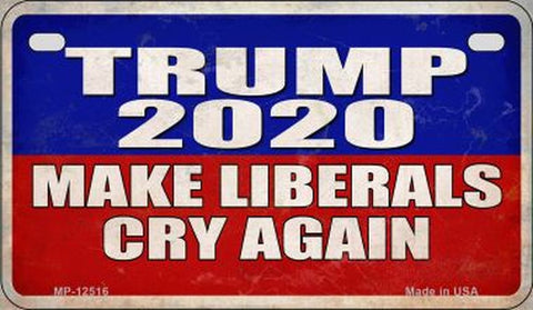 Trump 2020 Make Libs Cry Again Motorcycle License Plate