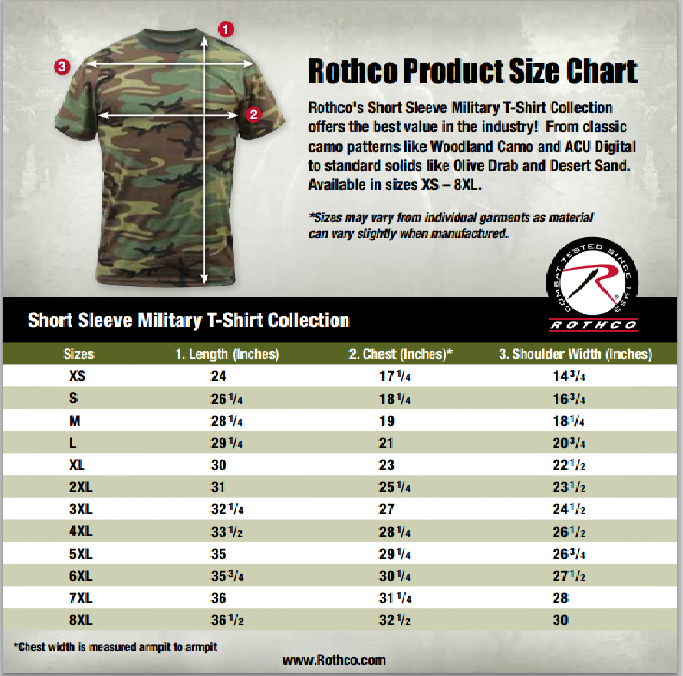 T Shirt Size Chart: Rothco Army Tactical Digi Camo Military Style Camouflage T