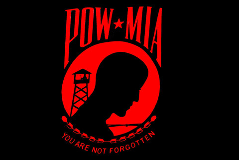 Red POW MIA 3 x 5 Poly  Flag