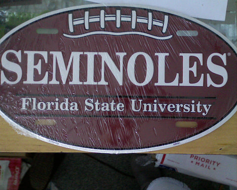 Seminoles Oval Metal License Plate - Hawkins Footwear and Sports  - 1