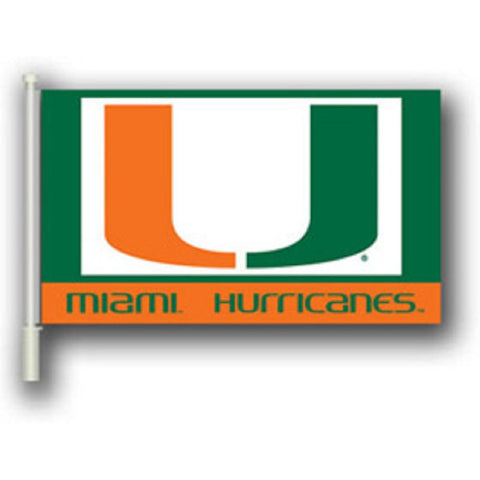 "Miami Hurricans 11"" X 18"" 2 Sided Car Flag - Hawkins Footwear and Sports  - 1"