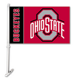 "Ohio State 11"" X 18"" 2 Sided Car Flag - Hawkins Footwear and Sports  - 1"