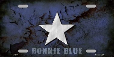 Blue Bonnie Star Metal License Plate
