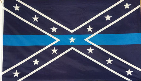 Store Display Rare Blue Line on Navy Confederate  Flag 3x5