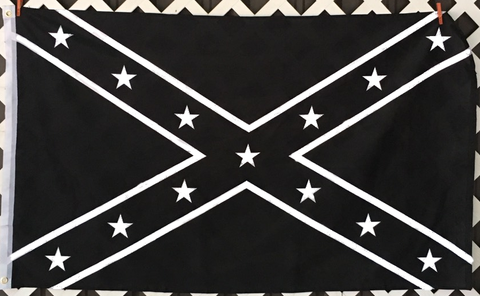 Black and White Confederate  Flag 3x5