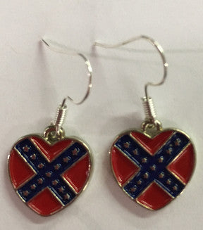 Battle Flag Earings Hearts
