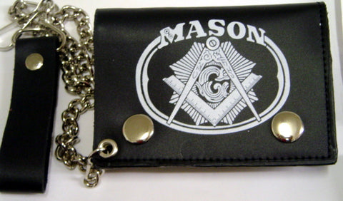 MASON  Leather Trifold Wallet w/ Chain.