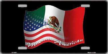 Mexican American Flag Metal License Plate