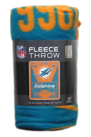 "Miami Dolphins Fleece Blanket 50"" x 60"""