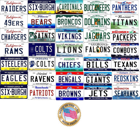 ALL State Background NFLTeam License Plates