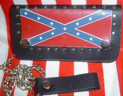 Black Studded Confederate Leather Trucker Wallet